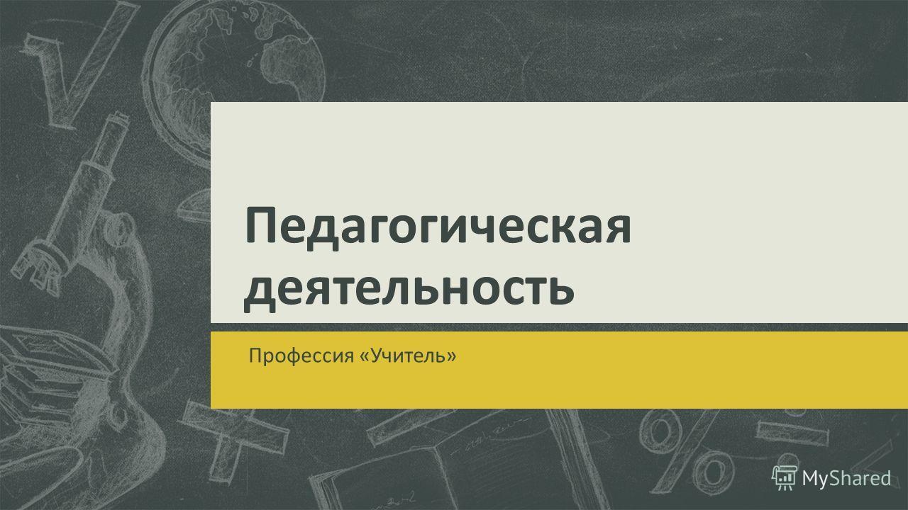Педагогическая деятельность Профессия «Учитель»