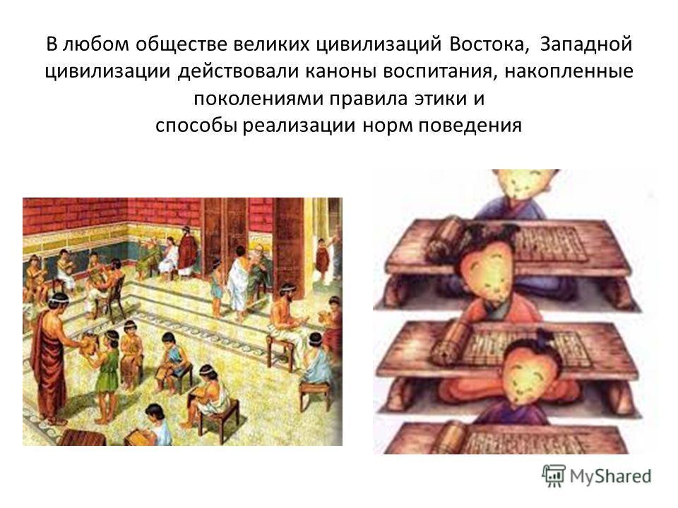 В любом обществе великих цивилизаций Востока, Западной цивилизации действовали каноны воспитания, накопленные поколениями правила этики и способы реализации норм поведения