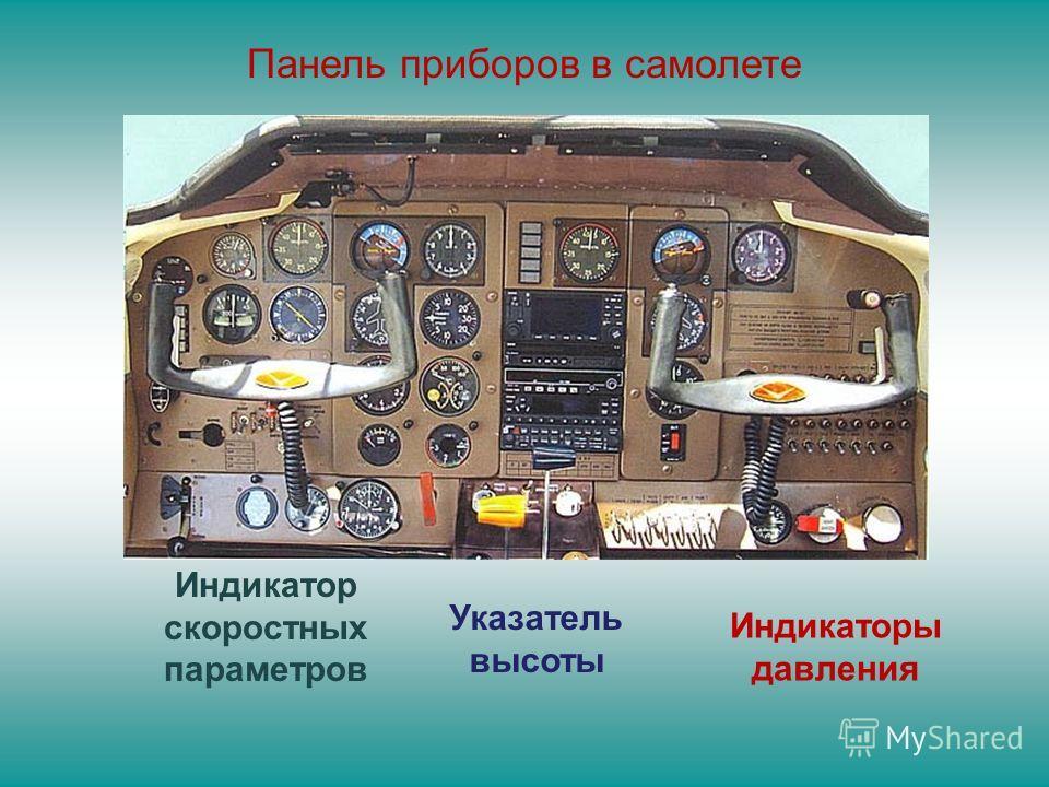 Индикатор скоростных параметров Указатель высоты Индикаторы давления Панель приборов в самолете