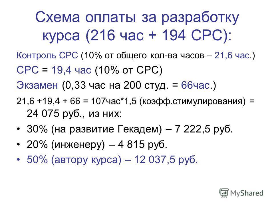 Схема оплаты за разработку курса (216 час + 194 СРС): Контроль СРС (10% от общего кол-ва часов – 21,6 час.) СРС = 19,4 час (10% от СРС) Экзамен (0,33 час на 200 студ. = 66час.) 21,6 +19,4 + 66 = 107час*1,5 (коэфф.стимулирования) = 24 075 руб., из них