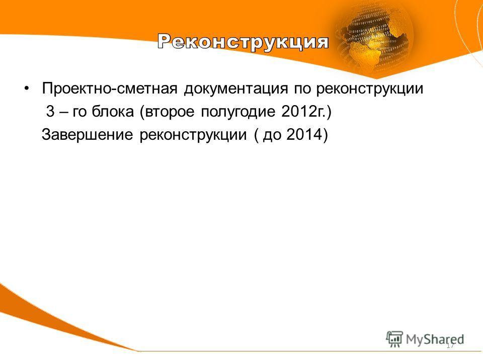Проектно-сметная документация по реконструкции 3 – го блока (второе полугодие 2012г.) Завершение реконструкции ( до 2014) 17