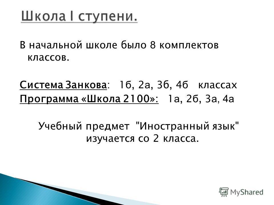 В начальной школе было 8 комплектов классов. Система Занкова: 1 б, 2 а, 3б, 4 б классах Программа «Школа 2100»: 1 а, 2 б, 3 а, 4а Учебный предмет Иностранный язык изучается со 2 класса.