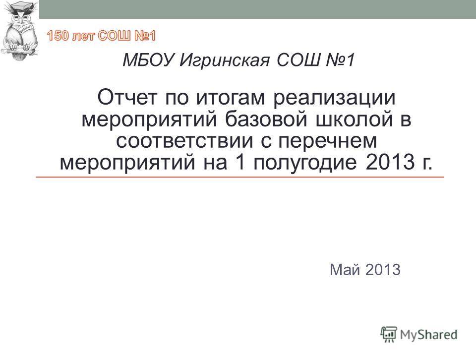 Май 2013 МБОУ Игринская СОШ 1 Отчет по итогам реализации мероприятий базовой школой в соответствии с перечнем мероприятий на 1 полугодие 2013 г.