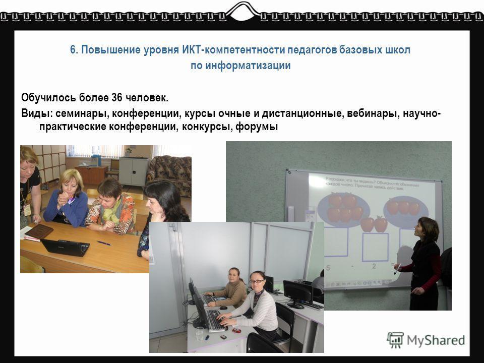 6. Повышение уровня ИКТ-компетентности педагогов базовых школ по информатизации Обучилось более 36 человек. Виды: семинары, конференции, курсы очные и дистанционные, вебинары, научно- практические конференции, конкурсы, форумы