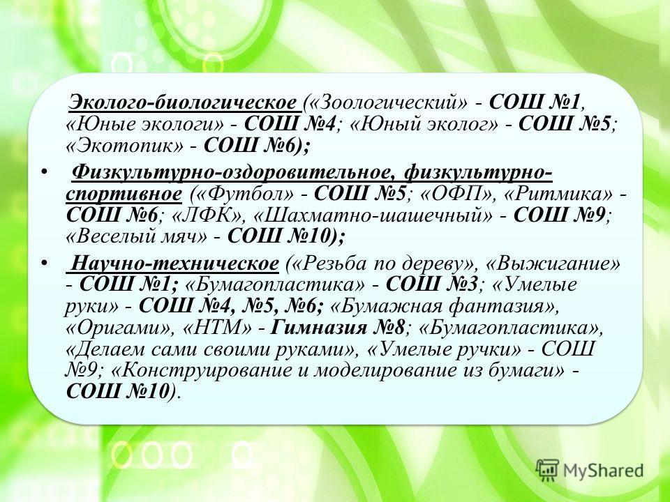 Эколого-биологическое («Зоологический» - СОШ 1, «Юные экологи» - СОШ 4; «Юный эколог» - СОШ 5; «Экотопик» - СОШ 6); Физкультурно-оздоровительное, физкультурно- спортивное («Футбол» - СОШ 5; «ОФП», «Ритмика» - СОШ 6; «ЛФК», «Шахматно-шашечный» - СОШ 9