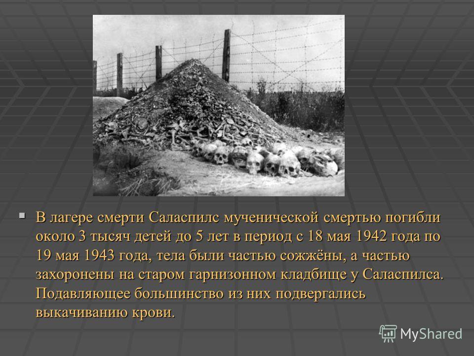 В лагере смерти Саласпилс мученической смертью погибли около 3 тысяч детей до 5 лет в период с 18 мая 1942 года по 19 мая 1943 года, тела были частью сожжёны, а частью захоронены на старом гарнизонном кладбище у Саласпилса. Подавляющее большинство из