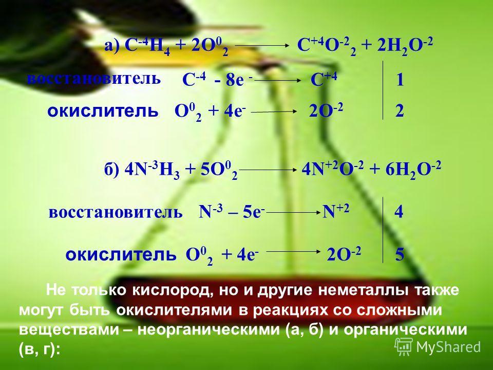 а) C -4 H 4 + 2O 0 2 C +4 O -2 2 + 2H 2 O -2 восстановитель C -4 - 8е - С +4 1 O 0 2 + 4е - 2O -2 2 б) 4N -3 H 3 + 5O 0 2 4N +2 O -2 + 6H 2 O -2 восстановитель N -3 – 5е - N +2 4 O 0 2 + 4е - 2O -2 5 окислитель Не только кислород, но и другие неметал