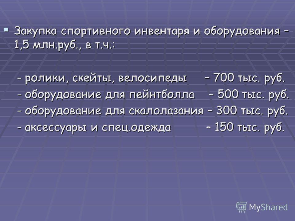 Закупка спортивного инвентаря и оборудования – 1,5 млн.руб., в т.ч.: Закупка спортивного инвентаря и оборудования – 1,5 млн.руб., в т.ч.: - ролики, скейты, велосипеды – 700 тыс. руб. - ролики, скейты, велосипеды – 700 тыс. руб. - оборудование для пей