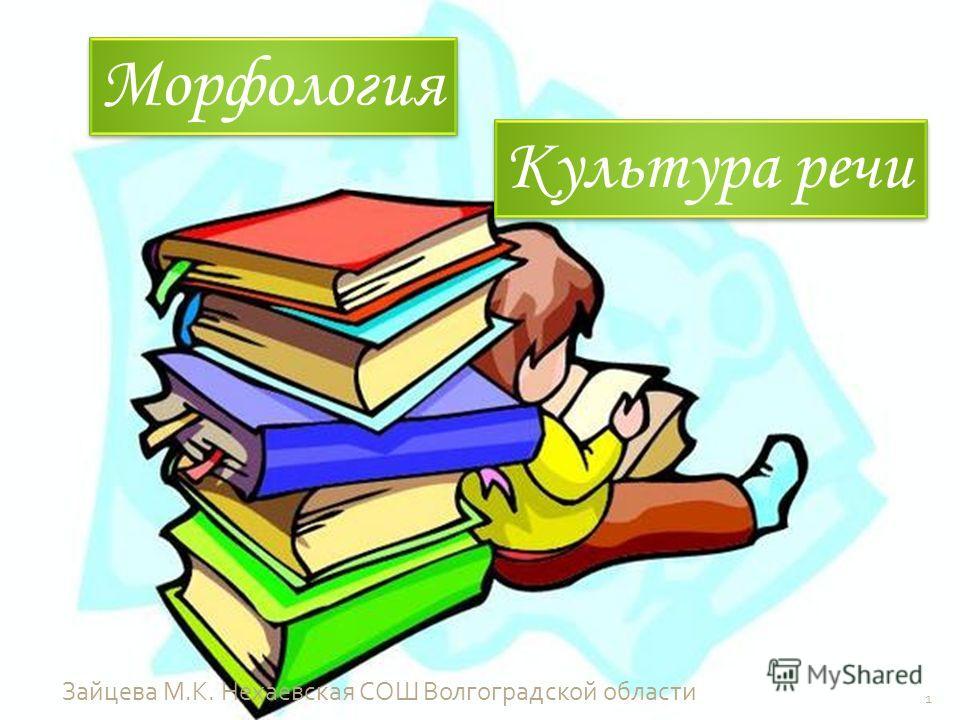 Морфология Культура речи 1 Зайцева М. К. Нехаевская СОШ Волгоградской области