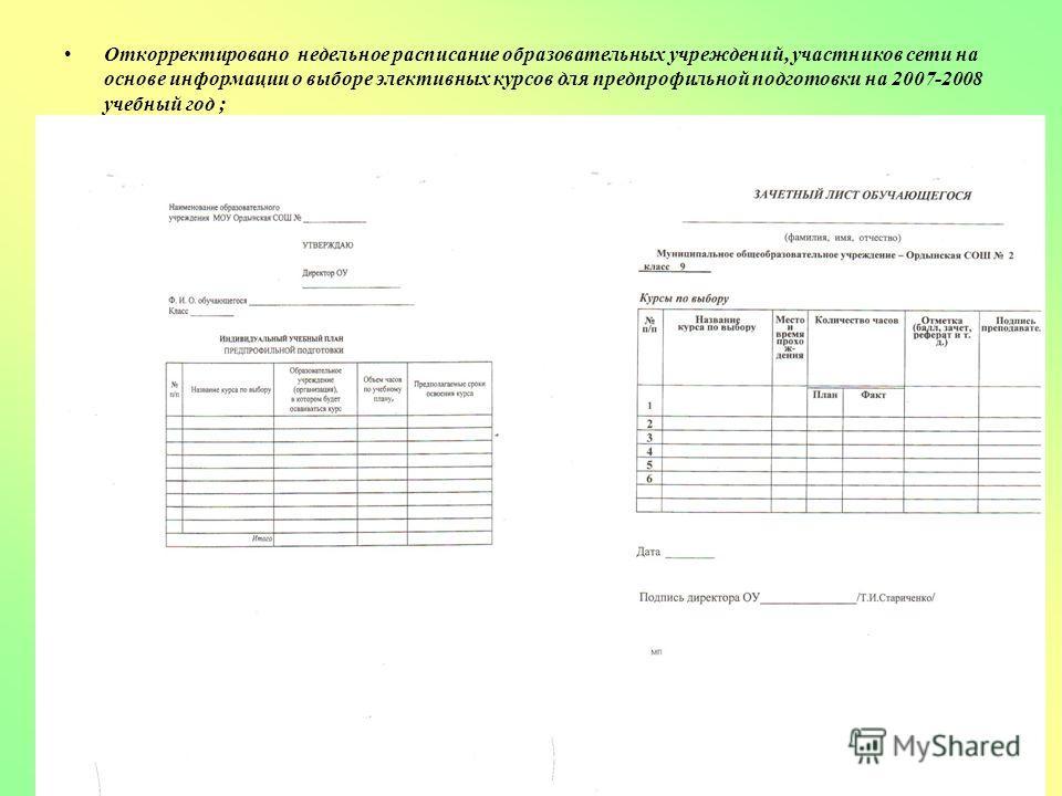 Откорректировано недельное расписание образовательных учреждений, участников сети на основе информации о выборе элективных курсов для предпрофильной подготовки на 2007-2008 учебный год ;