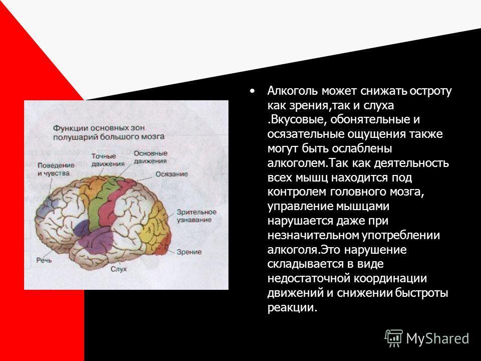 Алкоголь может снижать остроту как зрения,так и слуха.Вкусовые, обонятельные и осязательные ощущения также могут быть ослаблены алкоголем.Так как деятельность всех мышц находится под контролем головного мозга, управление мышцами нарушается даже при н
