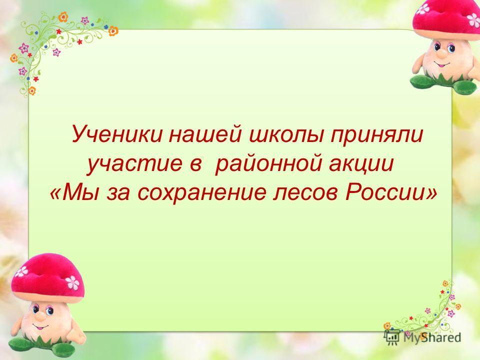 Ученики нашей школы приняли участие в районной акции «Мы за сохранение лесов России»