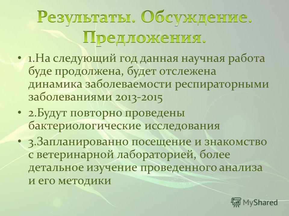 1.На следующий год данная научная работа буде продолжена, будет отслежена динамика заболеваемости респираторными заболеваниями 2013-2015 2.Будут повторно проведены бактериологические исследования 3.Запланированно посещение и знакомство с ветеринарной