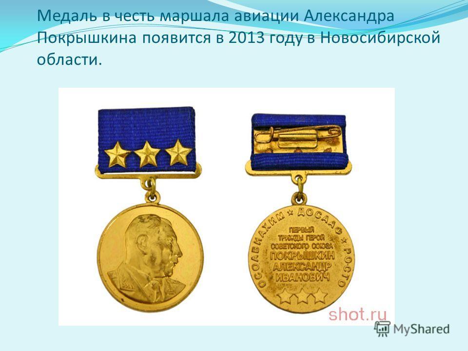 Медаль в честь маршала авиации Александра Покрышкина появится в 2013 году в Новосибирской области.