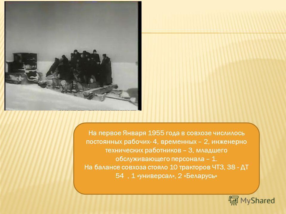 На первое Января 1955 года в совхозе числилось постоянных рабочих- 4, временных – 2, инженерно технических работников – 3, младшего обслуживающего персонала – 1. На балансе совхоза стояло 10 тракторов ЧТЗ, 38 - ДТ 54, 1 «универсал», 2 «Беларусь»
