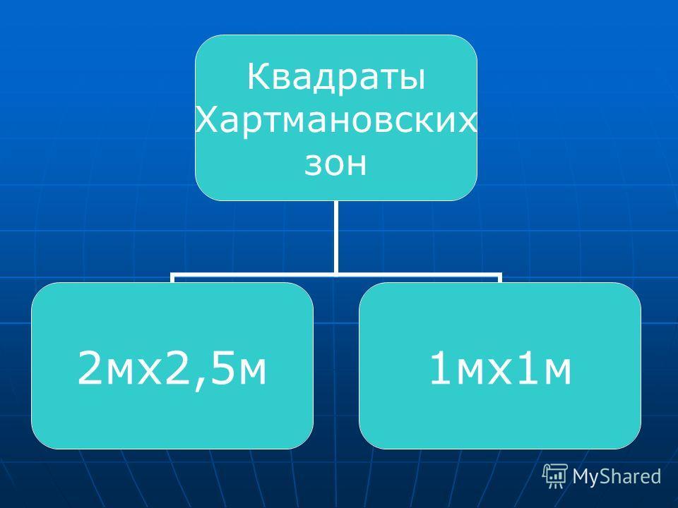 Квадраты Хартмановских зон 2мх2,5м1мх1м