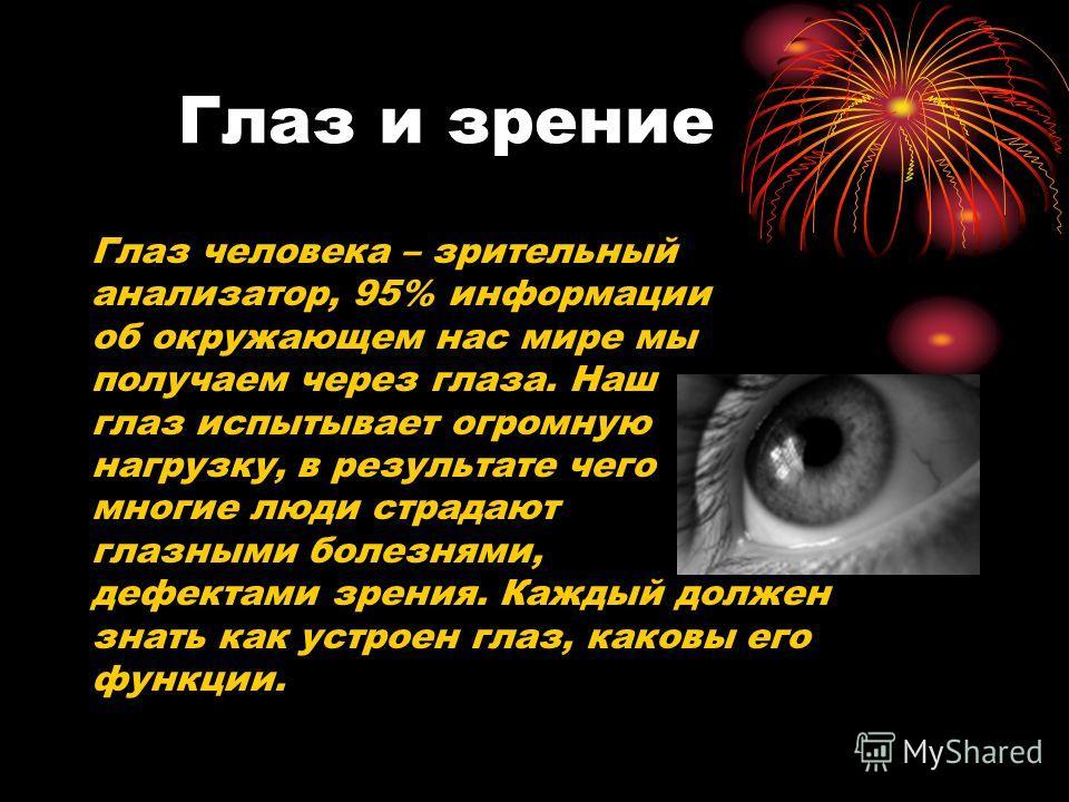 Глаз и зрение Глаз человека – зрительный анализатор, 95% информации об окружающем нас мире мы получаем через глаза. Наш глаз испытывает огромную нагрузку, в результате чего многие люди страдают глазными болезнями, дефектами зрения. Каждый должен знат