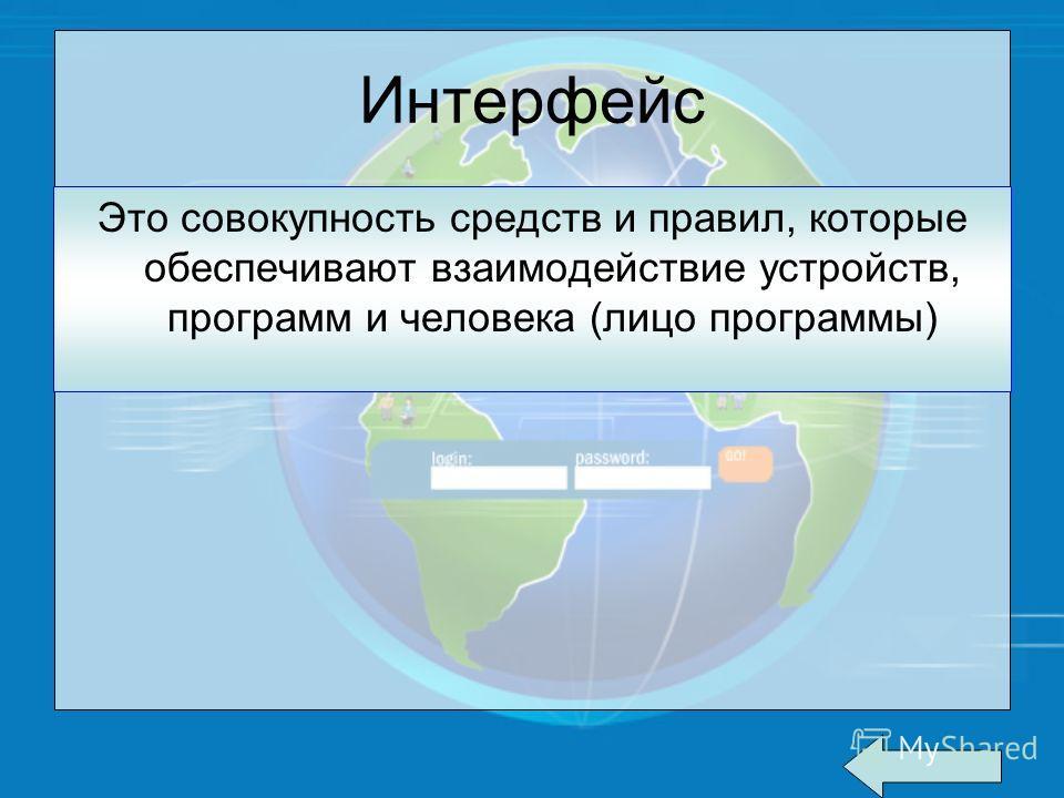 Интерфейс Это совокупность средств и правил, которые обеспечивают взаимодействие устройств, программ и человека (лицо программы)