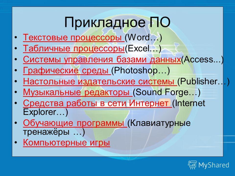 Прикладное ПО Текстовые процессоры (Word…)Текстовые процессоры Табличные процессоры(Excel…)Табличные процессоры Системы управления базами данных(Access...)Системы управления базами данных Графические среды (Photoshop…)Графические среды Настольные изд