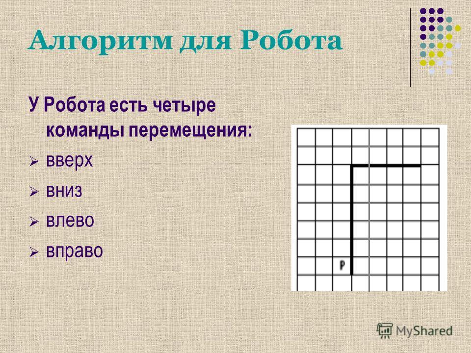Алгоритм для Робота У Робота есть четыре команды перемещения: вверх вниз влево вправо