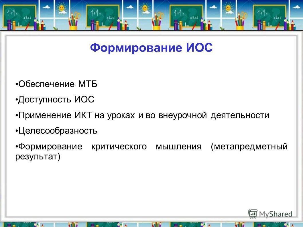 Формирование ИОС Обеспечение МТБ Доступность ИОС Применение ИКТ на уроках и во внеурочной деятельности Целесообразность Формирование критического мышления (метапредметный результат)