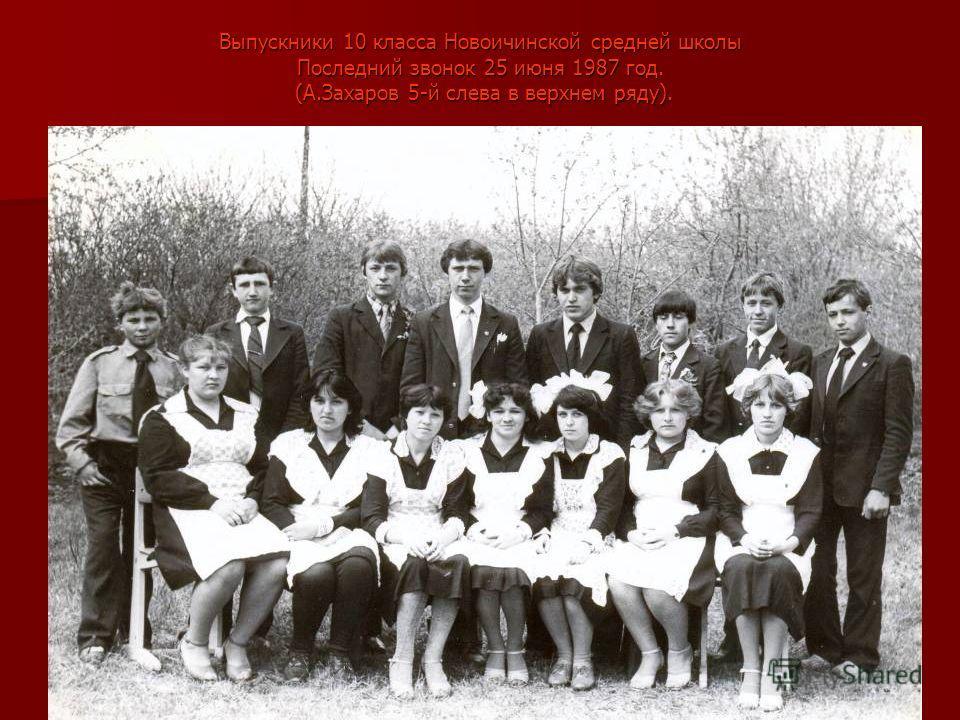 Выпускники 10 класса Новоичинской средней школы Последний звонок 25 июня 1987 год. (А.Захаров 5-й слева в верхнем ряду).