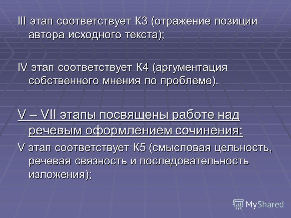 III этап соответствует К3 (отражение позиции автора исходного текста); IV этап соответствует К4 (аргументация собственного мнения по проблеме). V – VII этапы посвящены работе над речевым оформлением сочинения: V этап соответствует К5 (смысловая цельн
