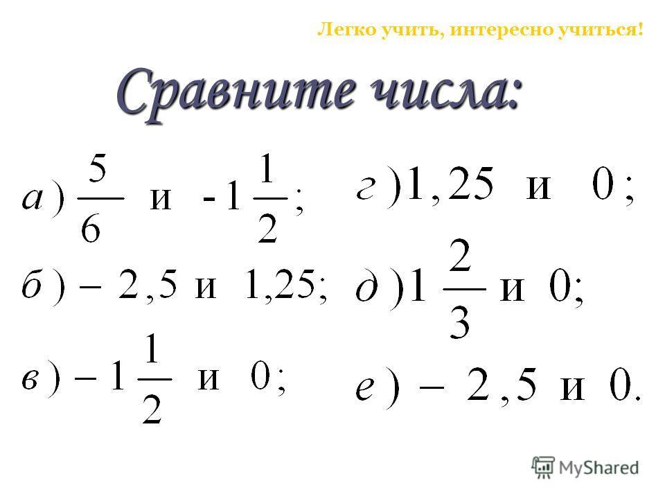 Сравните числа: Легко учить, интересно учиться!
