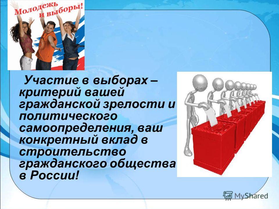 Участие в выборах – критерий вашей гражданской зрелости и политического самоопределения, ваш конкретный вклад в строительство гражданского общества в России!