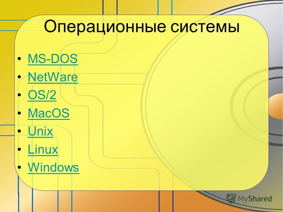 Операционные системы MS-DOS NetWare OS/2 MacOS Unix Linux Windows