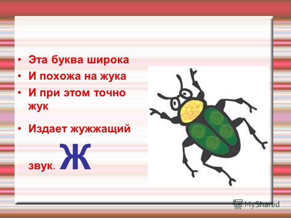 Эта буква широка И похожа на жука И при этом точно жук Издает жужжащий звук. Ж