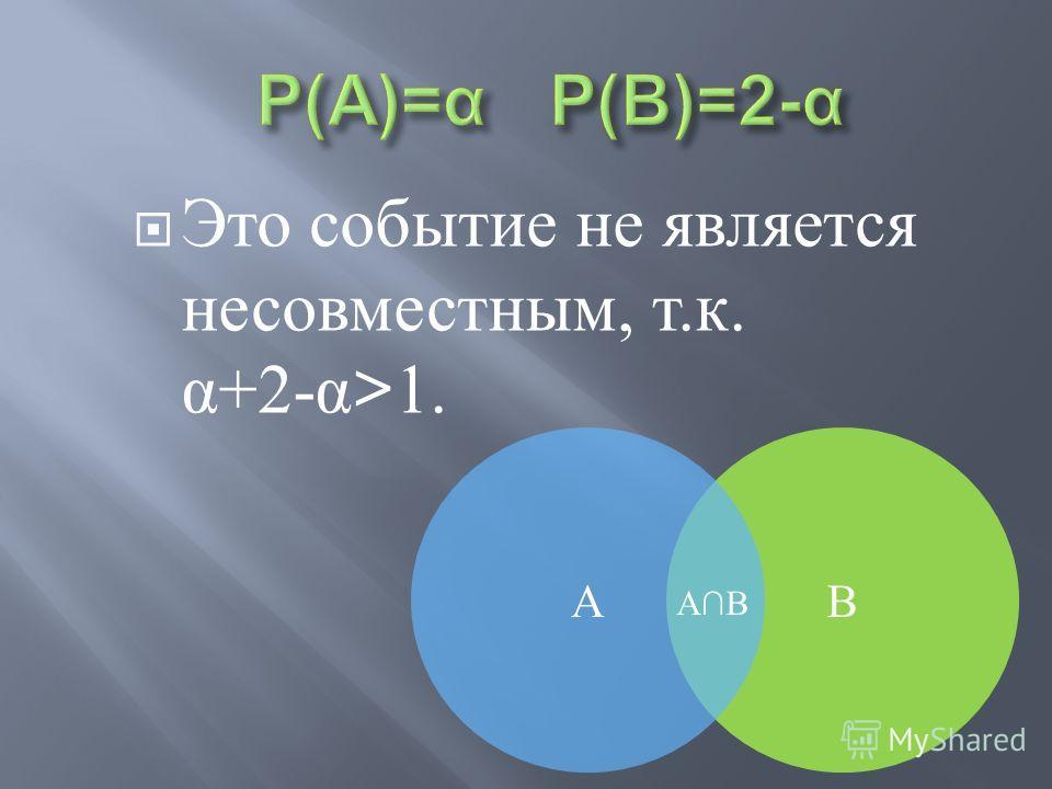В Это событие не является несовместным, т. к. α +2- α >1. А АВ
