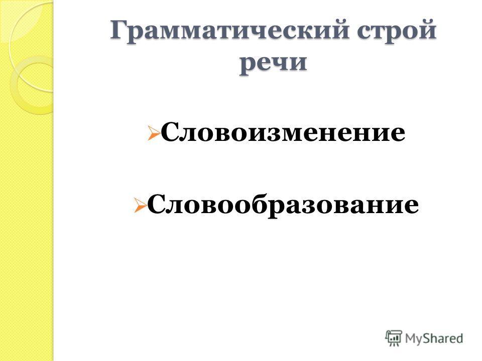 Грамматический строй речи Словоизменение Словообразование