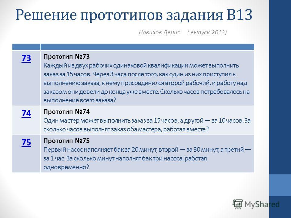 Решение прототипов задания В13 Новиков Денис ( выпуск 2013) 73 Прототип 73 Каждый из двух рабочих одинаковой квалификации может выполнить заказ за 15 часов. Через 3 часа после того, как один из них приступил к выполнению заказа, к нему присоединился