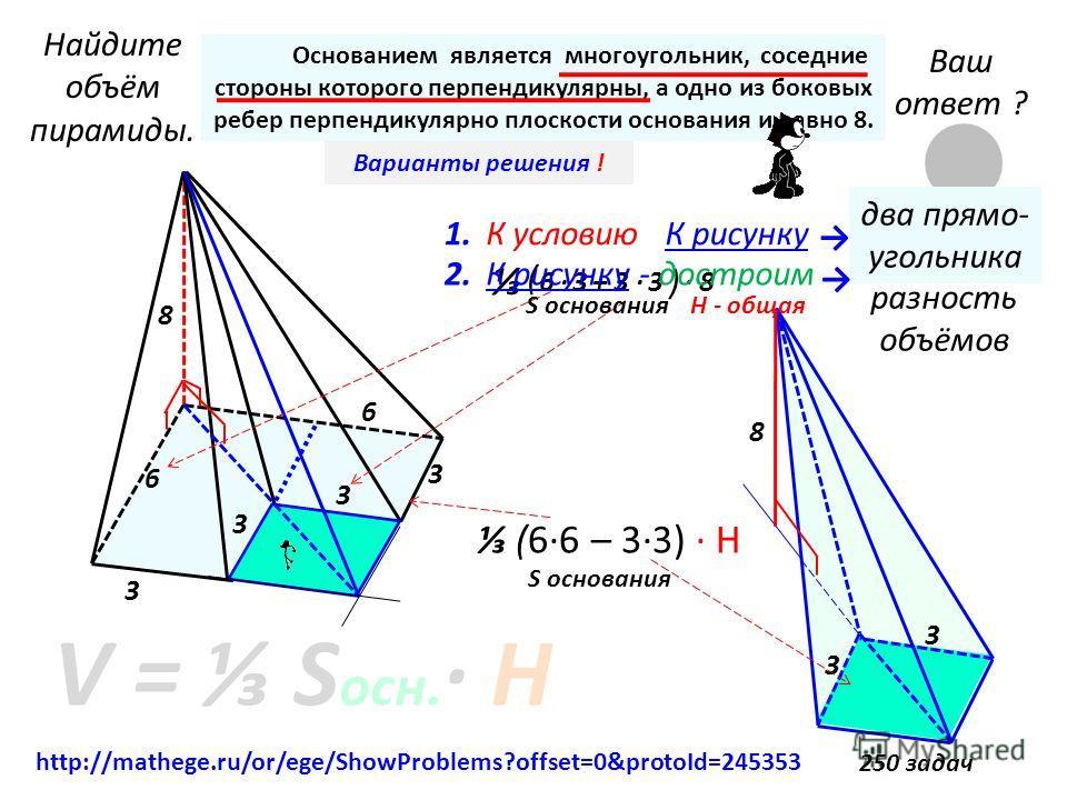 8 3 3 6 6 Найдите объём пирамиды. 8 3 3 Основанием является многоугольник, соседние стороны которого перпендикулярны, а одно из боковых ребер перпендикулярно плоскости основания и равно 8. V = S осн. · Н Ваш ответ ? 72 Ваши приёмы решения ?Варианты р