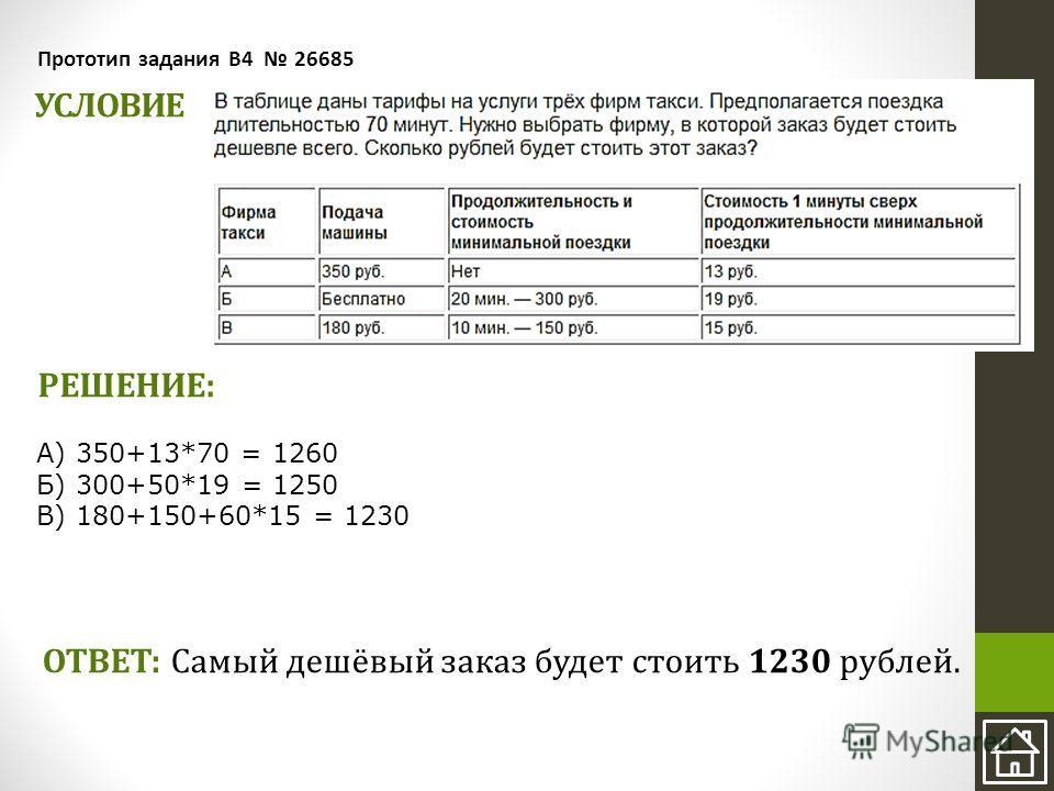 УСЛОВИЕ Прототип задания B4 26685 РЕШЕНИЕ: ОТВЕТ: Самый дешёвый заказ будет стоить 1230 рублей. А) 350+13*70 = 1260 Б) 300+50*19 = 1250 В) 180+150+60*15 = 1230