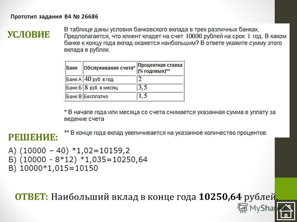 УСЛОВИЕ Прототип задания B4 26686 ОТВЕТ: Наибольший вклад в конце года 10250,64 рублей. А) (10000 – 40) *1,02=10159,2 Б) (10000 - 8*12) *1,035=10250,64 В) 10000*1,015=10150 РЕШЕНИЕ: