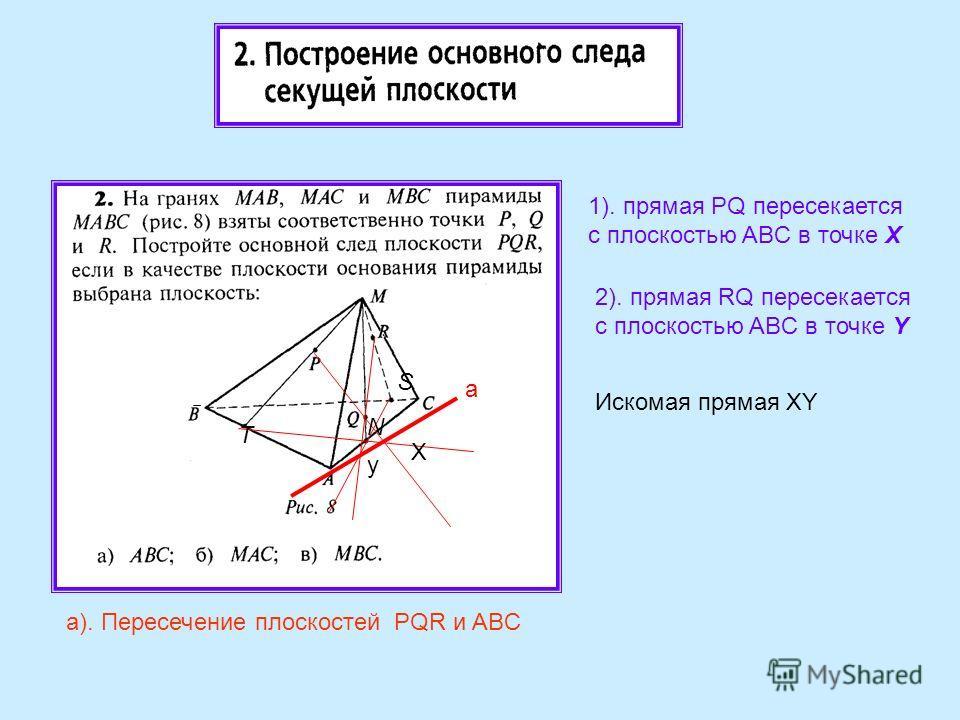 а). Пересечение плоскостей PQR и ABC а a 1). прямая PQ пересекается с плоскостью ABC в точке Х X 2). прямая RQ пересекается с плоскостью ABC в точке Y y Искомая прямая XY T N S