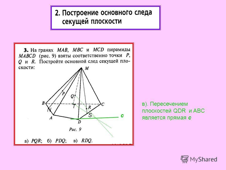 в). Пересечением плоскостей QDR и ABC является прямая с с N T S