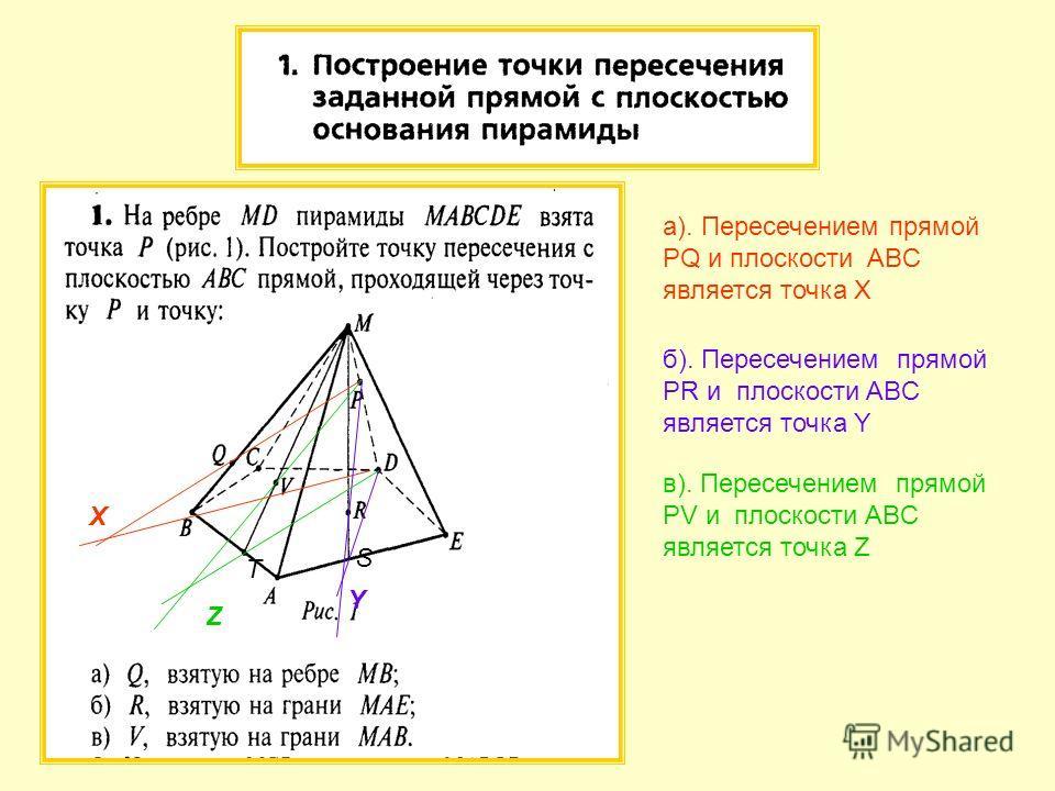 а). Пересечением прямой PQ и плоскости ABC является точка X X б). Пересечением прямой PR и плоскости ABC является точка Y Y в). Пересечением прямой PV и плоскости ABC является точка Z Z T S