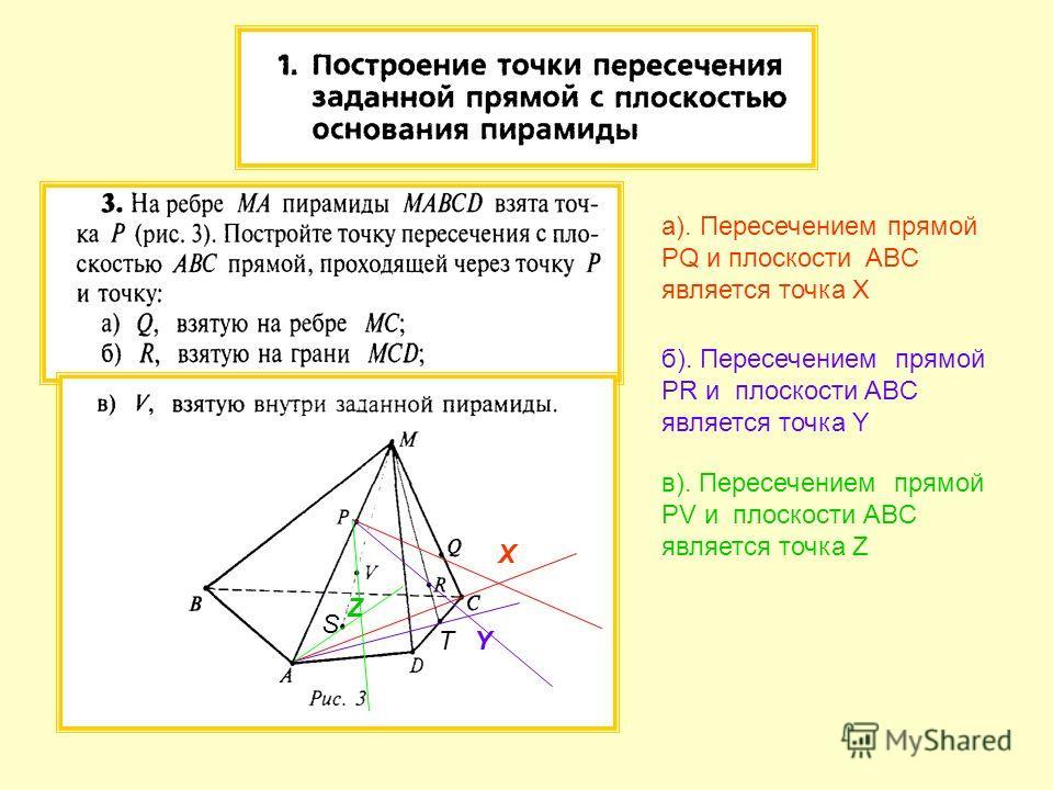 а). Пересечением прямой PQ и плоскости ABC является точка X б). Пересечением прямой PR и плоскости ABC является точка Y в). Пересечением прямой PV и плоскости ABC является точка Z X Y Z T S