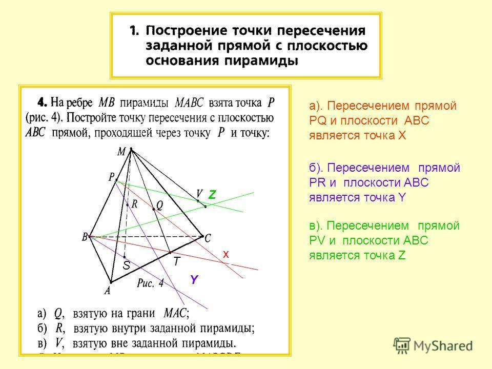 а). Пересечением прямой PQ и плоскости ABC является точка X б). Пересечением прямой PR и плоскости ABC является точка Y Y в). Пересечением прямой PV и плоскости ABC является точка Z Z x T S