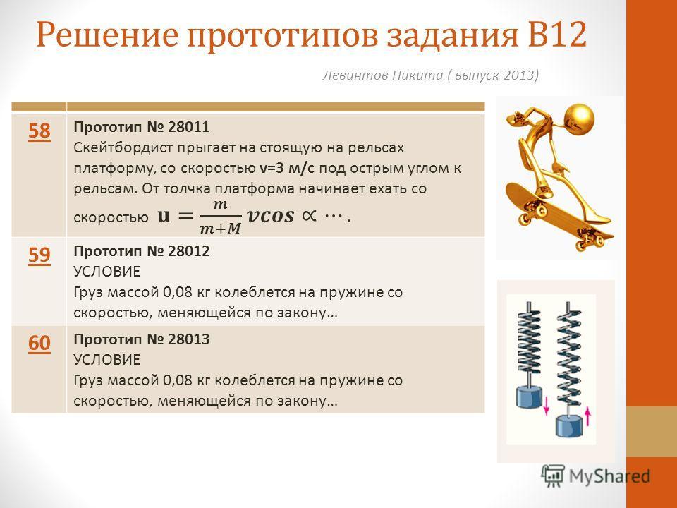 Решение прототипов задания В12 Левинтов Никита ( выпуск 2013) 58 59 Прототип 28012 УСЛОВИЕ Груз массой 0,08 кг колеблется на пружине со скоростью, меняющейся по закону… 60 Прототип 28013 УСЛОВИЕ Груз массой 0,08 кг колеблется на пружине со скоростью,