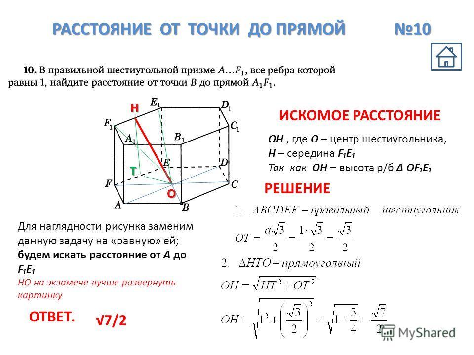 РАССТОЯНИЕ ОТ ТОЧКИ ДО ПРЯМОЙ 10 O OH, где О – центр шестиугольника, Н – середина FE Так как ОН – высота р/б ОFE ОТВЕТ. 7/2 ИСКОМОЕ РАССТОЯНИЕ РЕШЕНИЕ Н T Для наглядности рисунка заменим данную задачу на «равную» ей; будем искать расстояние от А до F
