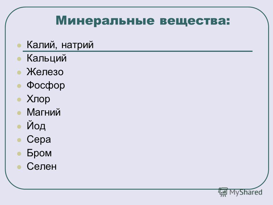 Минеральные вещества: Калий, натрий Кальций Железо Фосфор Хлор Магний Йод Сера Бром Селен