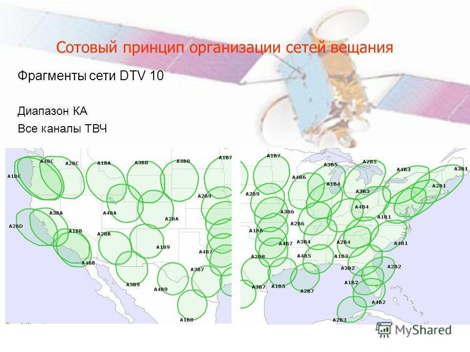 Сотовый принцип организации сетей вещания Фрагменты сети DTV 10 Диапазон КА Все каналы ТВЧ