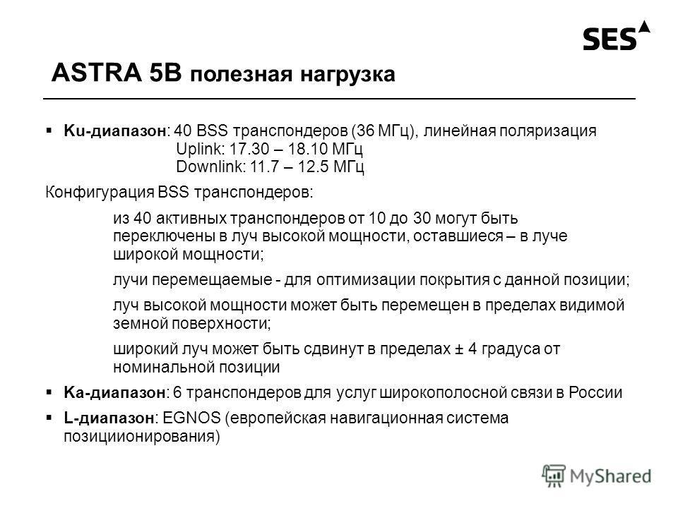 ASTRA 5B полезная нагрузка Ku-диапазон: 40 BSS транспондеров (36 МГц), линейная поляризация Uplink: 17.30 – 18.10 МГц Downlink: 11.7 – 12.5 МГц Конфигурация BSS транспондеров: из 40 активных транспондеров от 10 до 30 могут быть переключены в луч высо