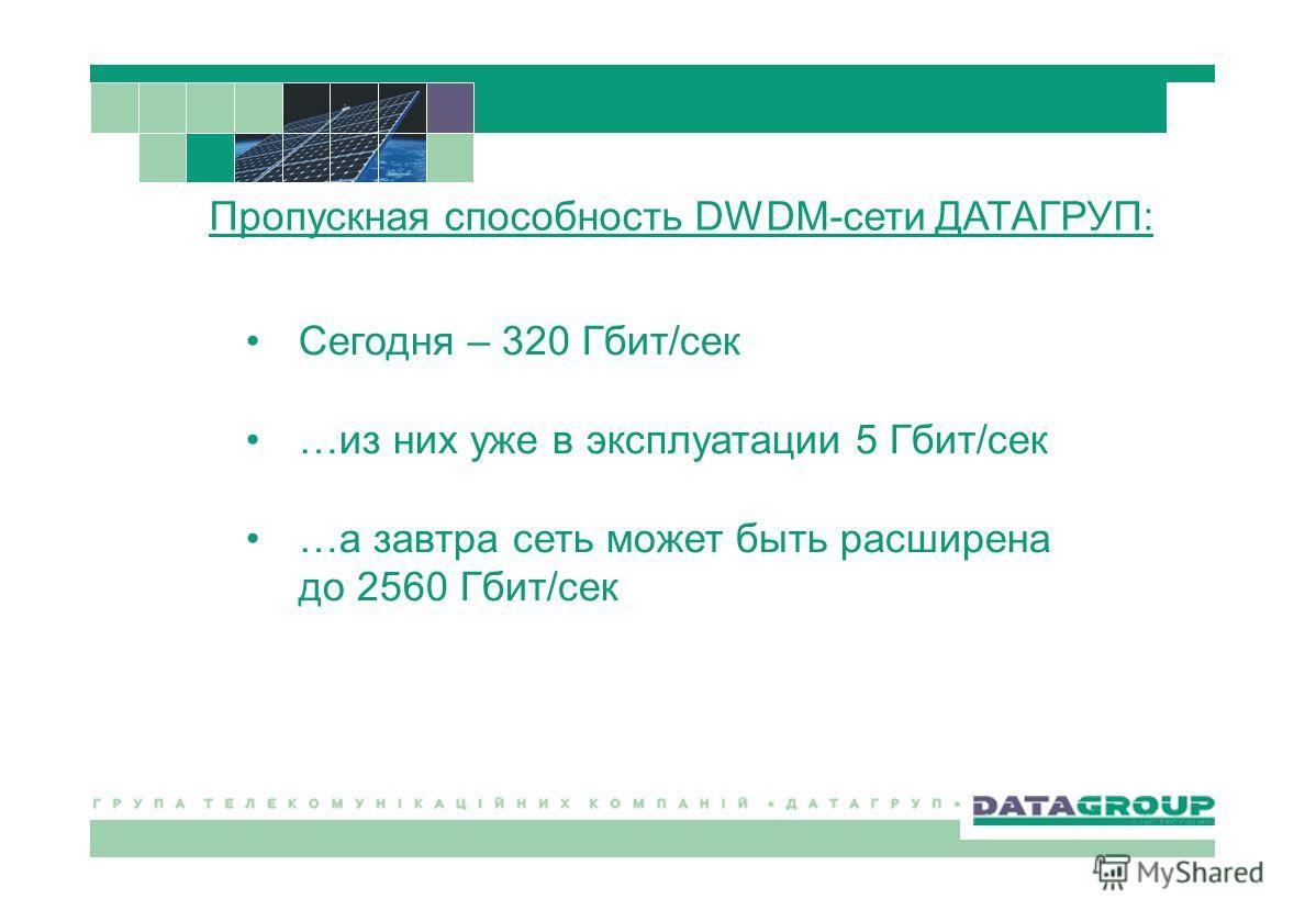 Сегодня – 320 Гбит/сек …из них уже в эксплуатации 5 Гбит/сек …а завтра сеть может быть расширена до 2560 Гбит/сек Пропускная способность DWDM-сети ДАТАГРУП: