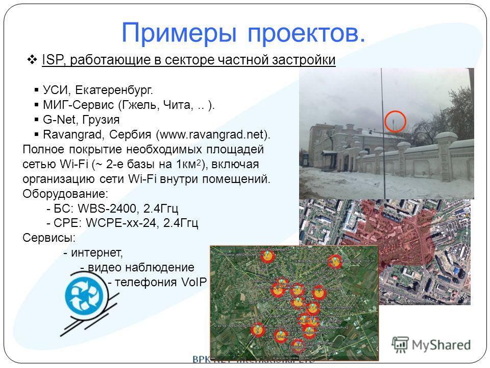 Примеры проектов. ISP, работающие в секторе частной застройки УСИ, Екатеренбург. МИГ-Сервис (Гжель, Чита,.. ). G-Net, Грузия Ravangrad, Сербия (www.ravangrad.net). Полное покрытие необходимых площадей сетью Wi-Fi (~ 2-е базы на 1км 2 ), включая орган