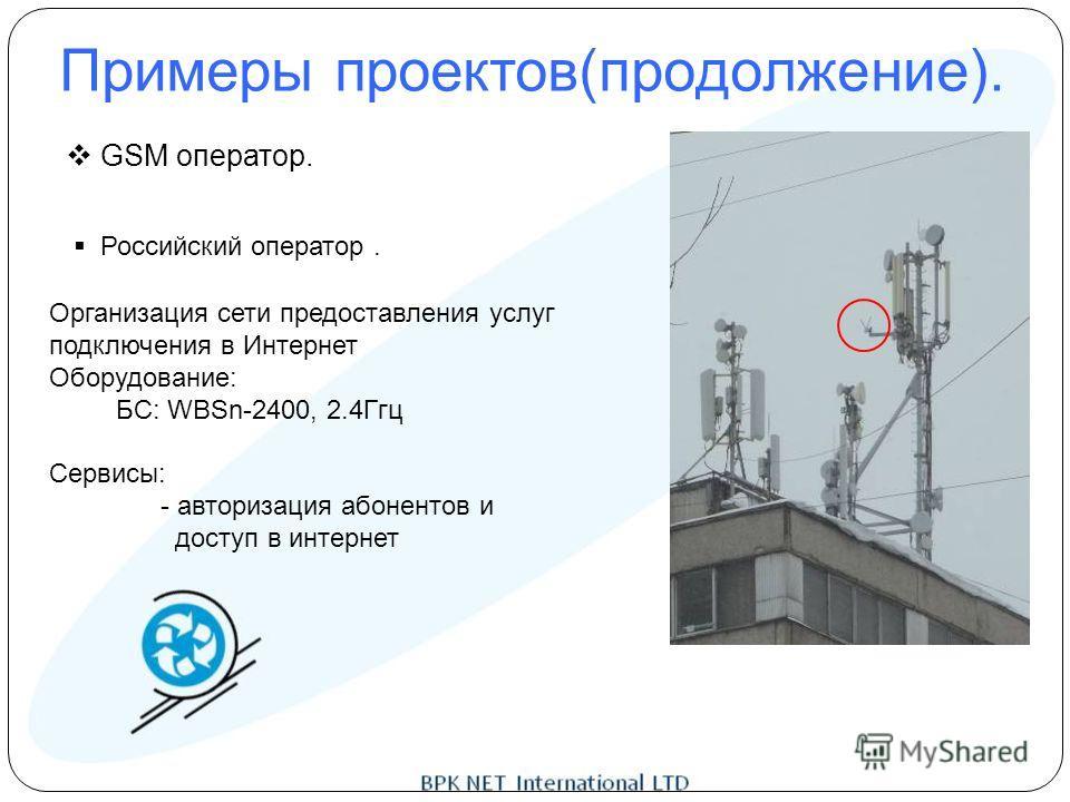 Примеры проектов(продолжение). GSM оператор. Российский оператор. Организация сети предоставления услуг подключения в Интернет Оборудование: БС: WBSn-2400, 2.4Ггц Сервисы: - авторизация абонентов и доступ в интернет
